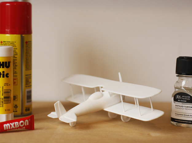 Bi Plane in White Natural Versatile Plastic