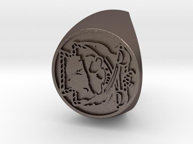 Custom Signet Ring 23 V2 in Polished Bronzed Silver Steel