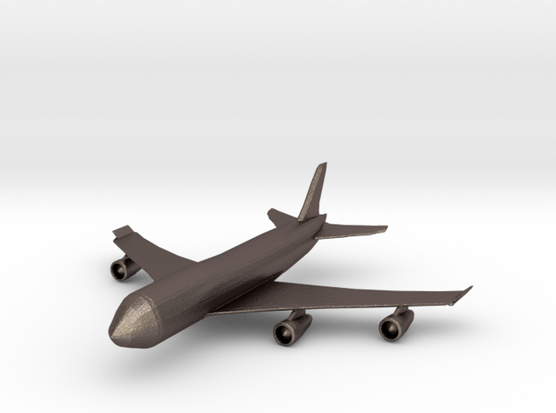 Passenger Plane in Polished Bronzed Silver Steel