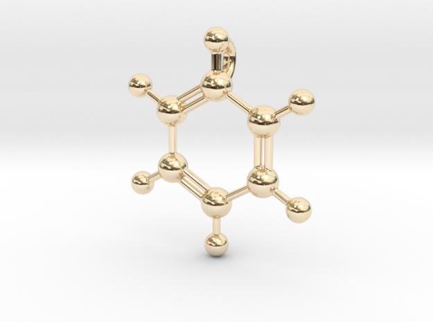 Benzene Pendant in 14k Gold Plated