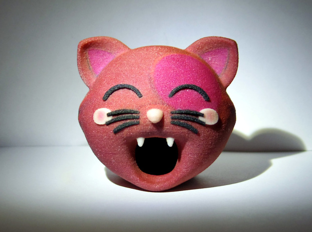 Funny Cat Head 50mm in Full Color Sandstone
