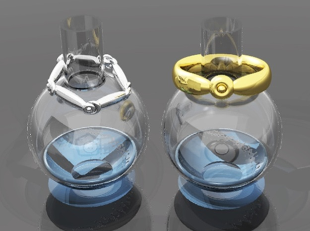 Alchemaic Bottle Ring Stand in Transparent Acrylic