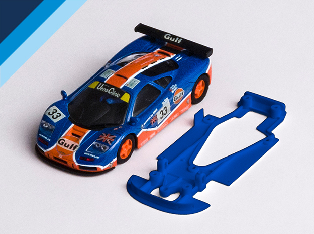 1/32 Ninco McLaren F1GTR Chassis for NSR pod in Blue Processed Versatile Plastic