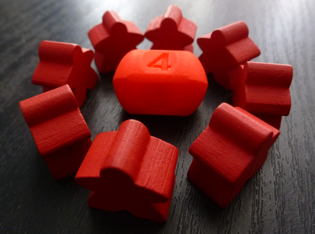 Four sided roller die in Red Processed Versatile Plastic