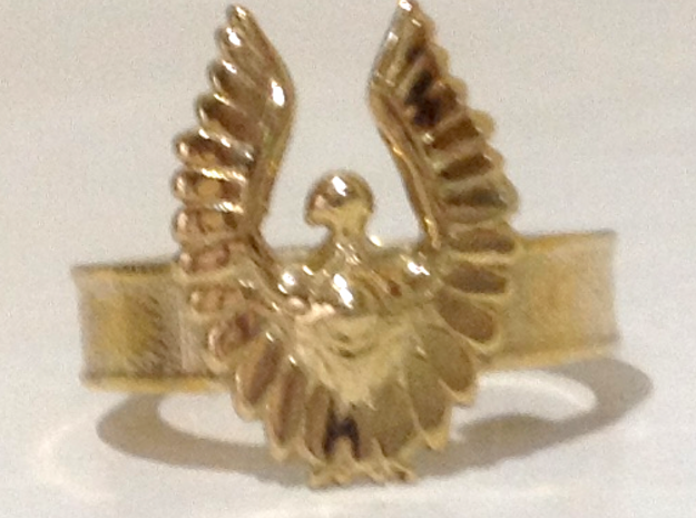 Baneful Bird Ring, Size 8.5 in Polished Brass