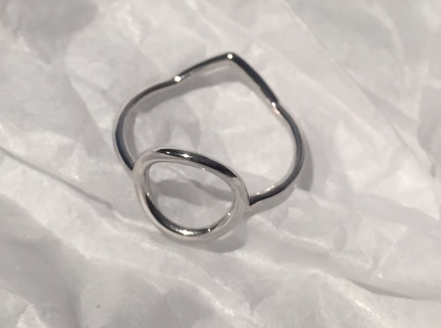 Cercle And Triangle Size SMALL (L - 51 3/4) in Rhodium Plated Brass