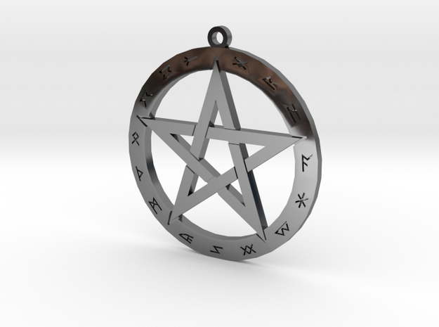 Pentagram with Runes in Fine Detail Polished Silver