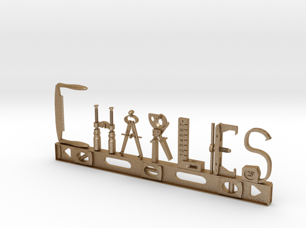 Charles Nametag in Matte Gold Steel