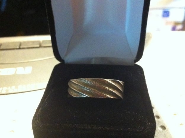 Spiral Ring Size 8 3d printed Stainless Steel