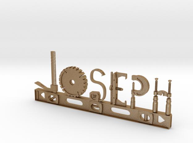 Joseph Nametag in Matte Gold Steel