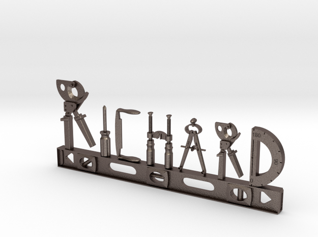 Richard Nametag in Polished Bronzed Silver Steel