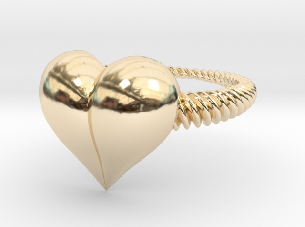 Size 8 Heart Ring in 14k Gold Plated Brass