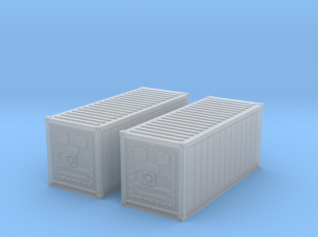 N Scale Refrigerated Container 20ft (2pc) in Smooth Fine Detail Plastic
