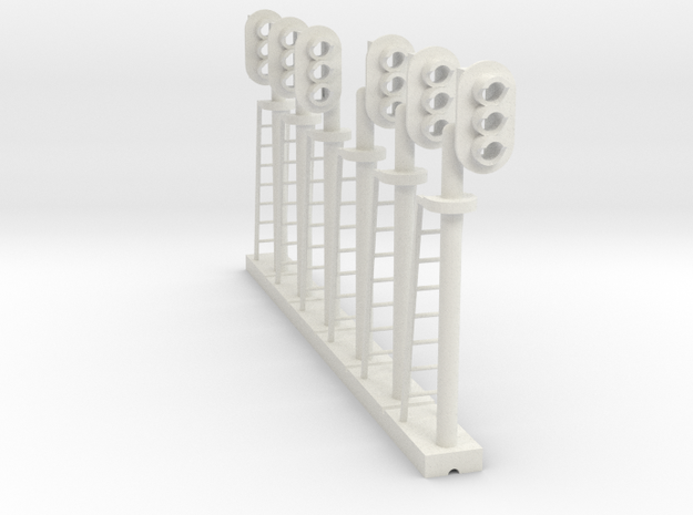 Block Signal 3 Light Mixed (Qty 6) - HO 87:1 Scale in White Natural Versatile Plastic