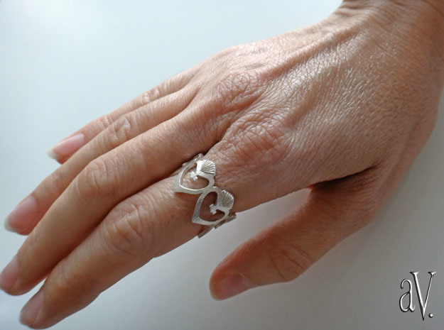 Heart Flame Ring in Natural Silver: 8 / 56.75