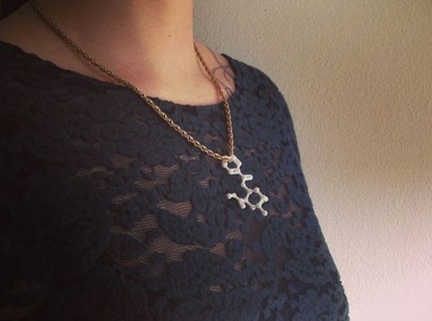 Cocaine Molecule Necklace Keychain in White Natural Versatile Plastic