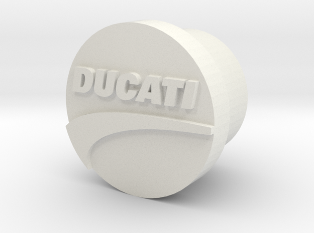 Ducatti Frame Plug With Logo in White Natural Versatile Plastic