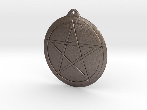 Keychain pentacle in Polished Bronzed Silver Steel