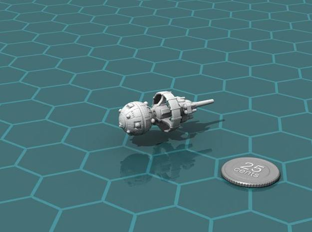 Belter Attack Cruiser v2 3d printed Render of the model, with a virtual quarter for scale.