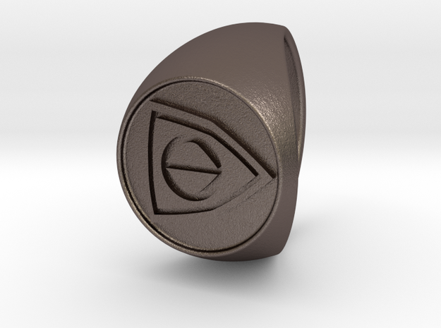 Custom Signet Ring 25 in Polished Bronzed Silver Steel