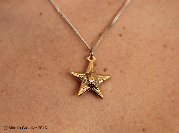 Stylised Sea Star Pendant in Natural Brass