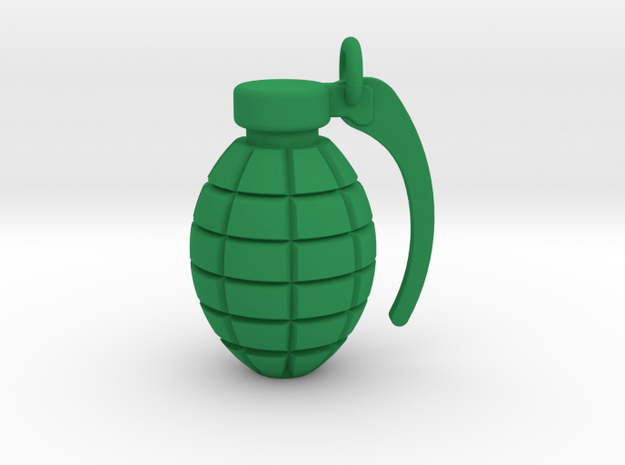 Grenade pendant/keyring in Green Strong & Flexible Polished