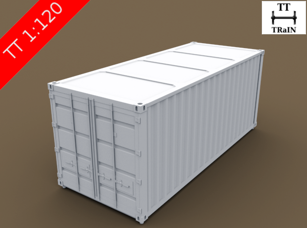 TT Scale Container Standard 20' in Smooth Fine Detail Plastic