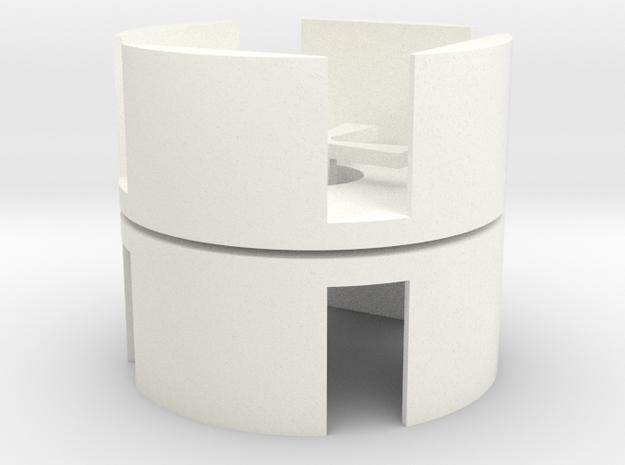 D6 Holder (pair) in White Processed Versatile Plastic