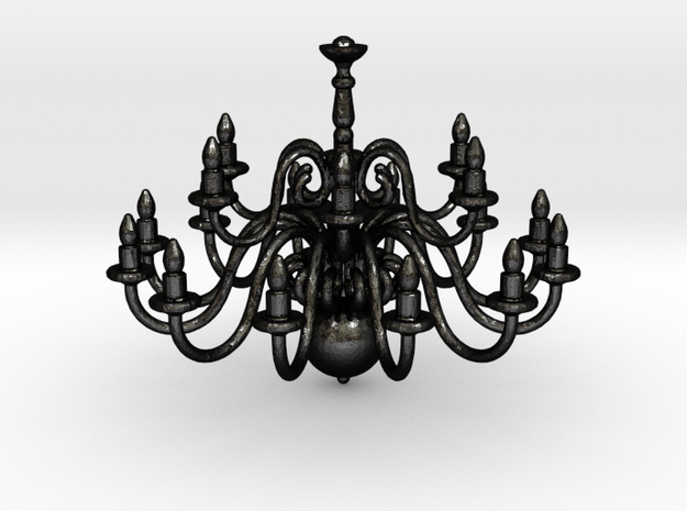 Chandelier  in Matte Black Steel