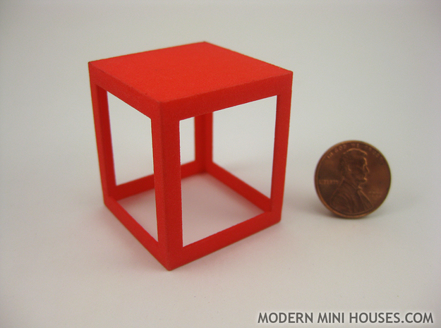 Framed 1:12 scale Side Table in Red Processed Versatile Plastic