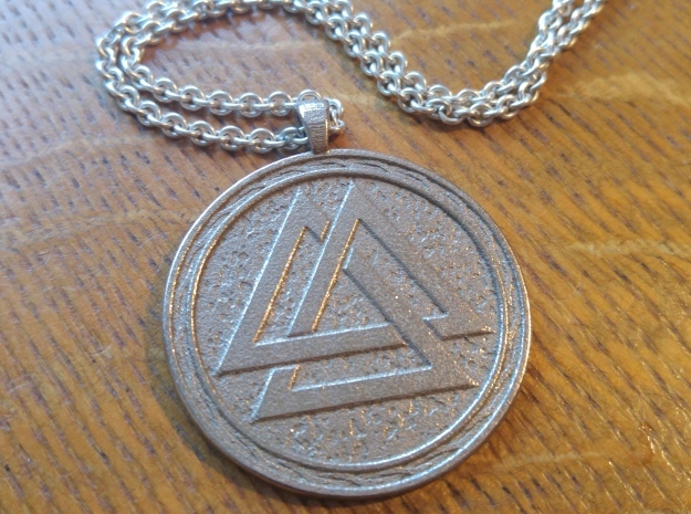 Valknut pendant in Polished Bronzed Silver Steel