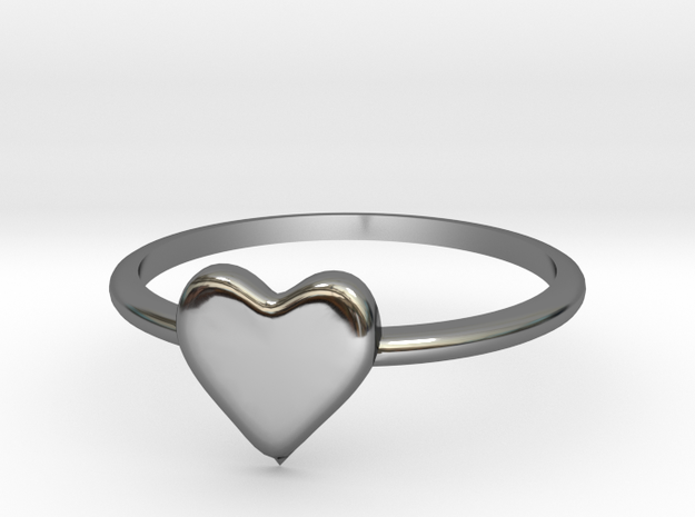 Heart-ring-solid-size-11 in Fine Detail Polished Silver
