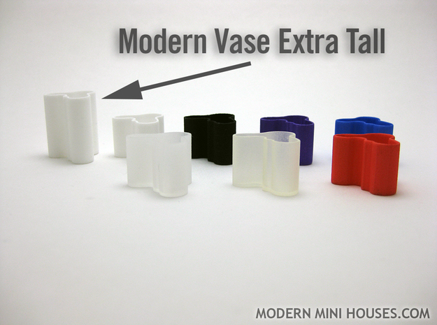 Modern Vase Extra Tall 1:12 scale in White Processed Versatile Plastic