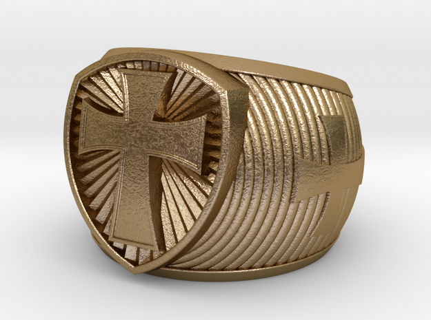 Cross Ring 21mm in Polished Gold Steel