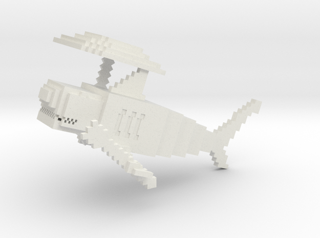 Minecraft Shark in White Strong & Flexible