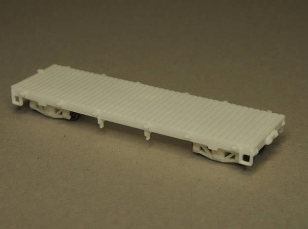 HOn30 25 foot Flatcar without stakes 3d printed sitting on HOn30 trucks (not included)