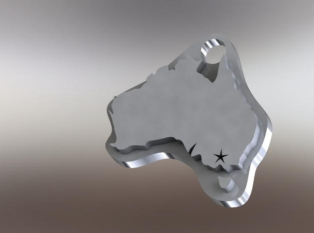 Australia Melbourne Keychain 3d printed SolidWorks Rendering