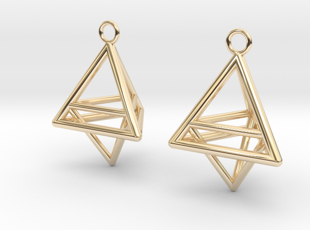 Pyramid triangle earrings type 10 in 14k Gold Plated Brass