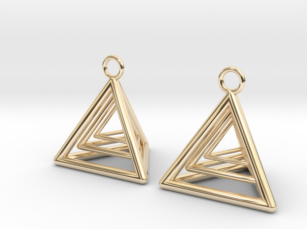 Pyramid triangle earrings type 9 in 14k Gold Plated Brass