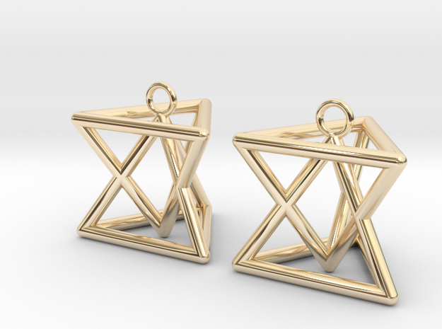 Pyramid triangle earrings type 7 in 14k Gold Plated Brass