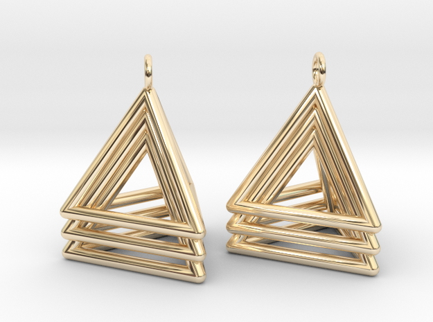 Pyramid triangle earrings type 5 in 14k Gold Plated Brass