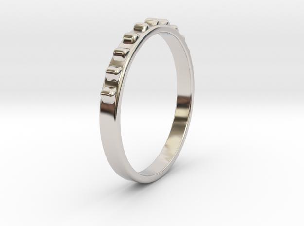 Light Fine Ring Ø0.585/Ø14.86 Mm in Rhodium Plated Brass