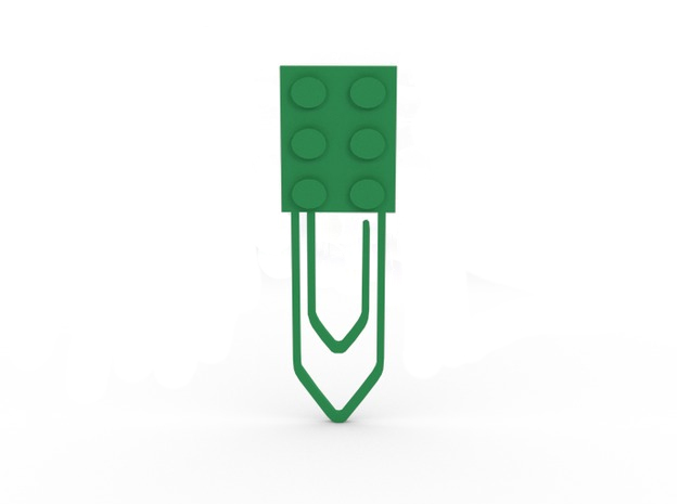 Paper clip / Bookmark in Green Strong & Flexible Polished