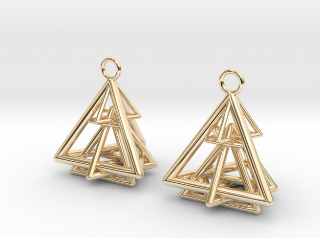 Pyramid triangle earrings type 15 in 14k Gold Plated Brass