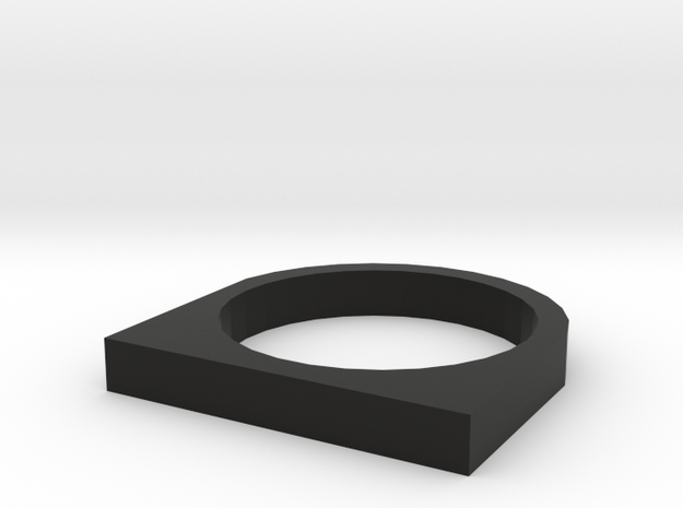 Rectangular Basic Ring in Black Natural Versatile Plastic
