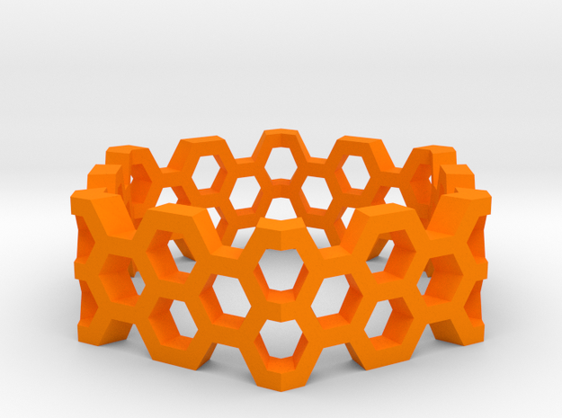 Honeycomb HexRing in Orange Processed Versatile Plastic
