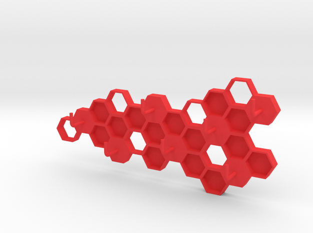 Honeycomb Key Hanger  in Red Strong & Flexible Polished