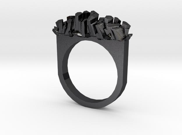 Rock Crystal Ring- Flat in Polished Grey Steel