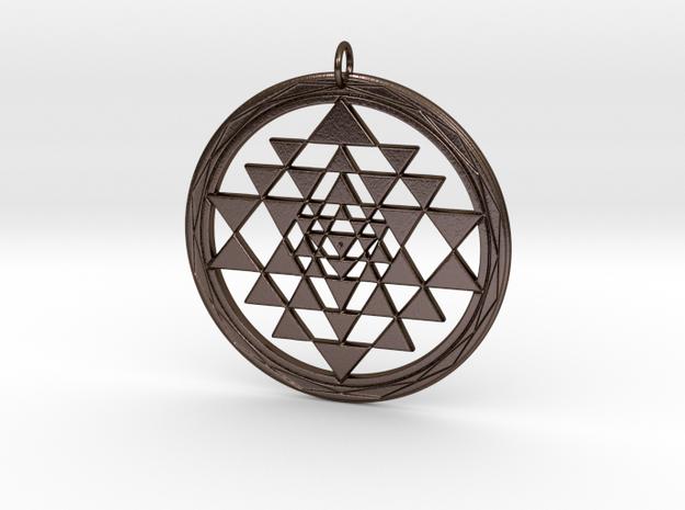 Fancy Sri Yantra Pendant in Polished Bronze Steel