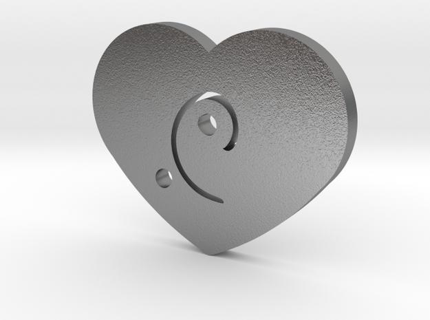 Moon-glyph-heart-energy in Raw Silver